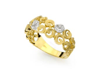 Spiral artisan solid 14k yellow gold ring with diamond accents