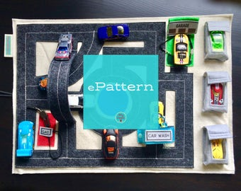 ePattern PDF - Car Activity Play Mat includes Pop-Up Overpass & Car Wash