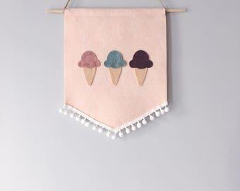 Ice cream wall hanging banner, felt banner, wall ganging felt, felt ice cream cone , felt wall hanging