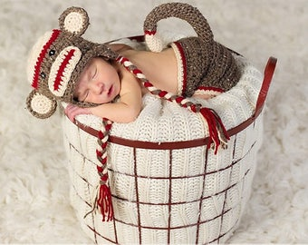 Baby Sock Monkey Hat, Made to Order