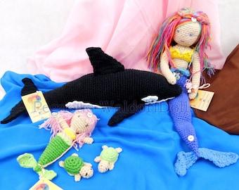 Ecofriendly crochet OCEAN SET, hand made, steiner, waldorf