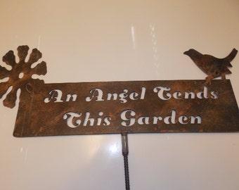 An Angel Tends This Garden Metal Sign Yard Art