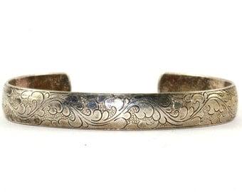 Vintage Floral Scroll Etching Design Cuff Bracelet Sterling Silver BR 567