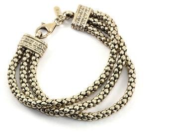 Silpada 3-Strand Popcorn Bracelet 925 Sterling Silver BR 2138