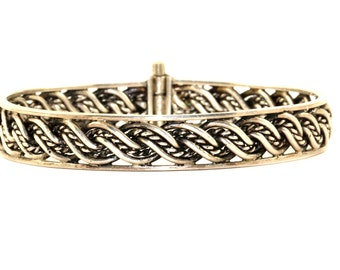 Vintage Braided Woven Style Bangle Bracelet  925 Sterling BR 566