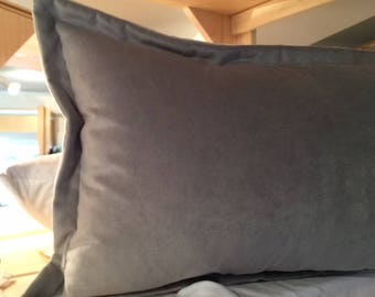 "Dusk Gray Plush Velvet Throw Pillow Cover 14"" x 22"" Luxurious Thick Velvet Throw Pillow with 1"" Flange"