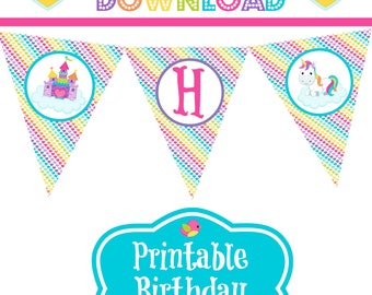 Unicorn & Rainbows Happy Birthday Party Banner Pennants Pink Magical Pony Clouds Hearts