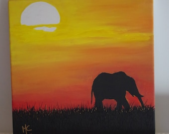 Elephant in backlight on canvas with acrylic
