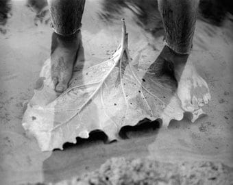 In The Rivers Flow- Black and White Photography, Leaf, Feet, B&W Art Print, Medium Film Camera