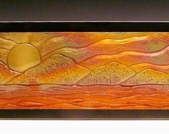 Ceramic Tile- Hanging Carved Mountain Tile on Wood - Item #43