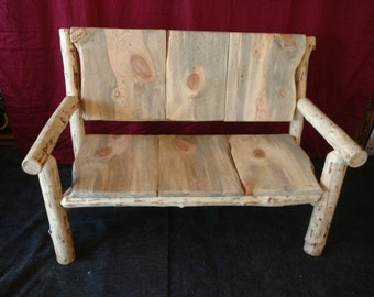 Log Furniture; Plank Back Love Seat