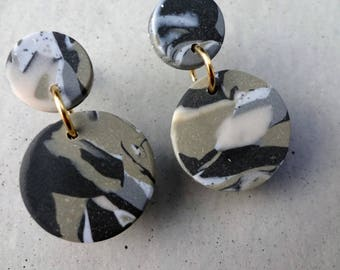 Bambino Earrings - Urban Camo / Stud Earrings / Drop Earrings / Abstract Earrings / Modern Earrings