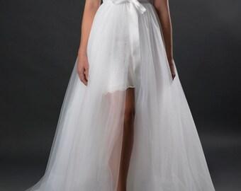 Long tulle skirt, Bridal tulle overskirt, wedding overskirt, detachable overskirt, bridal overskirt, bridal skirt, wedding dress