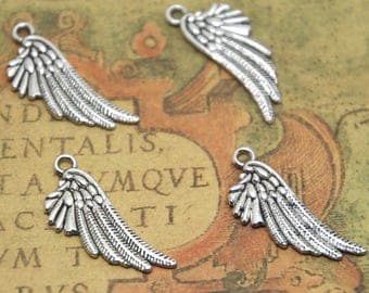 20pcs angel wing charms silver tone wing charms pendants 29X10mm ASD1770