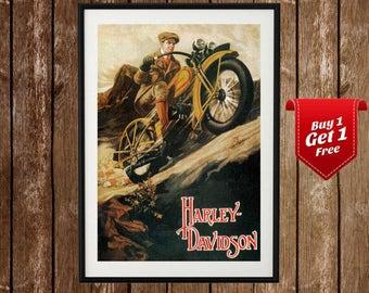Harley Davidson Vintage Poster - Vintage Advertisment, Harley Posters, Garage Print, Harley Davidson Motorcycle Poster, Workshop