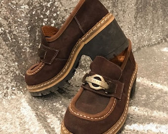 SALE!!! REGULAR PRICE 69eur!!! 1970s Vintage Brown Chunky Heel Platforms, Women Shoes, Thick Heeled Grunge Clueless Slip-On Shoes