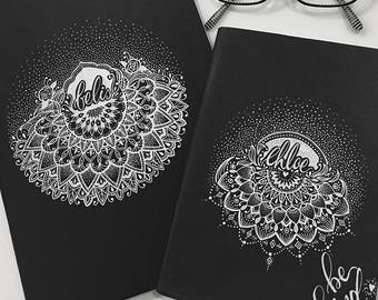 sketchbook cover customised with name & mandala