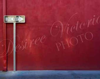 One Way Street Sign [ Red Building ] Decor -- Photography Instant Photo Download Print