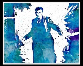 Dr Who ORIGINAL Watercolour Painting, Whovian Wall Art, Geek Gift, David Tennant, Dr Who Art Print
