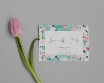 Floral Watercolour Pastel Save the Date - Summer Beachside Save the Date - Wedding Save the Date card