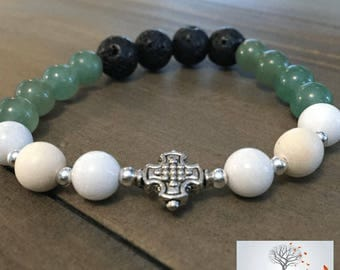 "Natural Stone Elastic Bracelet - ""The Luck One"" (Aventurine, Lava Rock, Riverstone)"