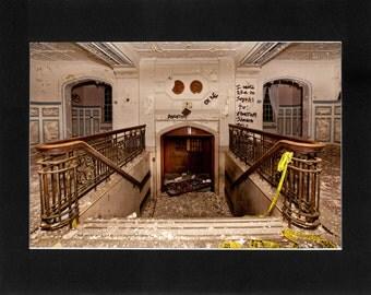 "Custom Matted Print 0302. Abandoned: Marlboro State Mental Hospital, NJ. ""Hospital Entrance"" - Collectable Photographic Artwork. (11"" x 14"")"
