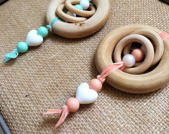 Extra Large Maple Teething Ring Rattle