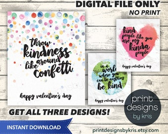 Printable Kindness Valentines Day Card - Printable Valentine - School Valentines Day Card - Kindness Valentines - Preschool Valentines