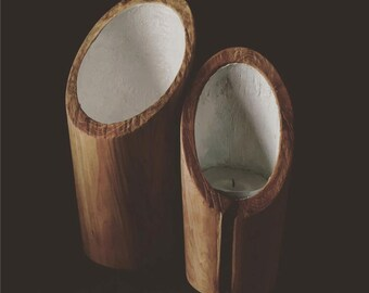 Set of two candle holders in the Alps Juniper
