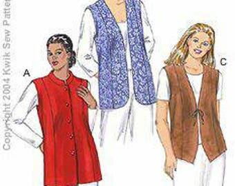 Kwik Sew Women's Lined Vest 1x -4x New in Envelope