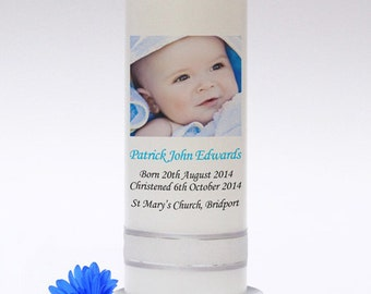Personalised Baptism, Christening or Naming Day Photo Candle