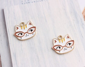 10Pcs Gold Plated Enamel Doctor Cat Charms Pendant Accessories,  Cute Cat with Glasses Charms Bracelet/Necklace Floating Jewelry Crafts