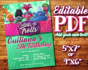 """Printable Trolls Invitation for Trolls Birthday / Trolls Party (5"""" x 7"""" or 4"""" x 6"""") Editable PDF Instant Digital Download Poppy Trolls"""