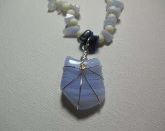 Blue Lace Agate and Sodalite Necklace
