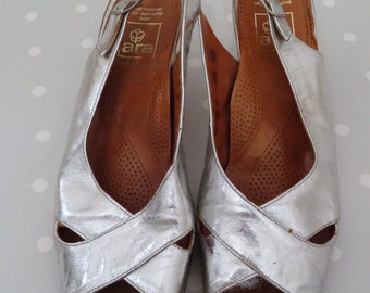 Vintage party - silver 60s 70s Sling pumps
