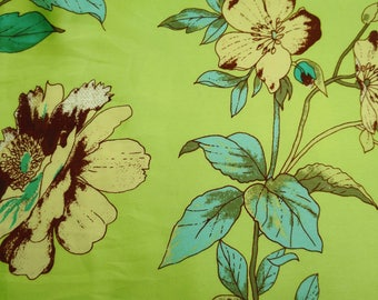"""Indian Dress Fabric, Sewing Material, Green Designer Fabric, Satin Fabric, Floral Print, 43"""" Inch Home Decor Fabric FSS180A"""