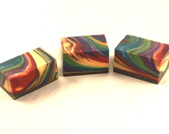 Fruity Swirls Cold Process Artisan Soap, Small Batch