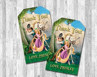 Tangled Thank You Tag, Rapunzel Thank You Tag, Tangled Favor Tag, Rapunzel Favor Tag, Tangled Birthday, Rapunzel Birthday, Party Favors