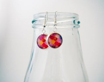 Earrings with glass cabochon - 12mm - Stainless steel - 033 - Mosaïque and tiles