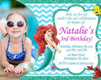 Little Mermaid Invitation Birthday Party Ariel Invitation Birthday Party