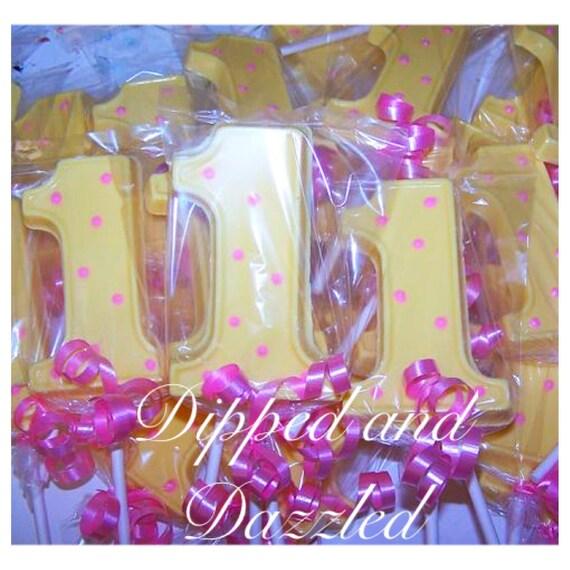1 Doz First Birthday Custom Colors Chocolate Lollipop 1st birthday girl boy favors