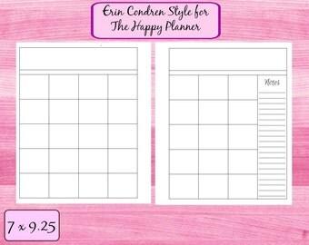 Monthly Calendar Erin Condren for the Happy Planner