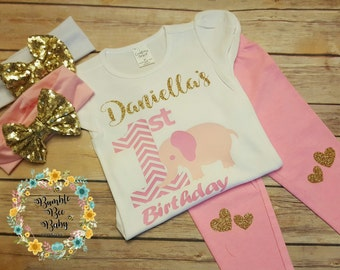 Girls First Birthday, Elephant Birthday, Happy Birthday, Personalized Monogrammed Girls 3 Piece Birthday Outfit