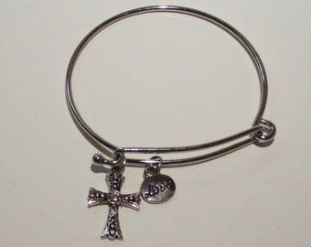 Silver Plated Charm Bracelet with Cross and Love Charms (000189)