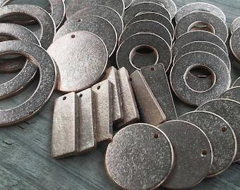40pc, Metal Stamping Blanks, Mix&Match Stamping Blanks, Rectangle and Washer Metal Stamping Blanks, Antiqued Bronze, Blank Stamping Tags