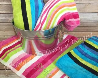 Monogrammed personalized Cabana stripe beach/pool towel