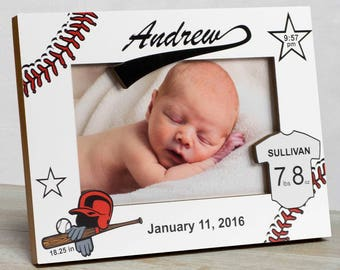 Personalized Baby Picture Frame, Baby Boy Picture Frame, New Baby Boy Frame, Baby Boy Frame, Baby Boy Birth Frame, Baby Baseball Frame