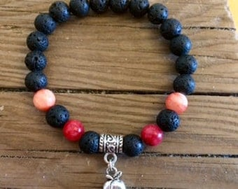Eat a Peach Lava Rock Stretch Bracelet