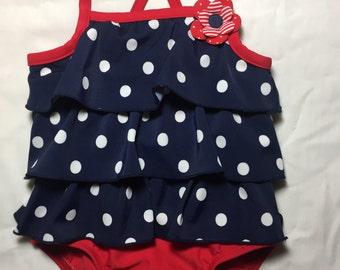 Polka Dot Swimsuit - 9 Months