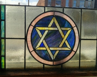 Antique Rare Stained Glass Window Star of David Jewish Synagogue Temple Shul